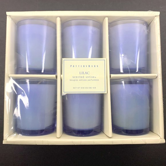 Pottery Barn Lilac Scented Votive Candles set of 6